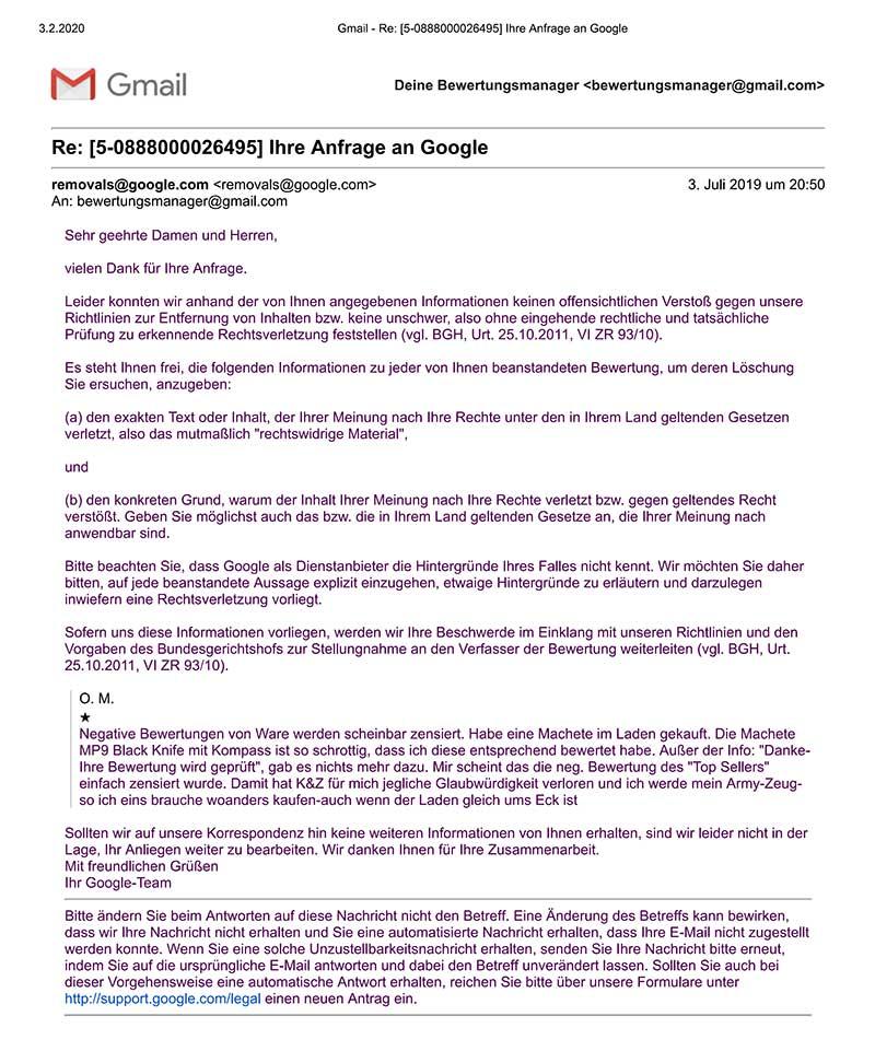 google fordert auf inhaltlich zu begründen 1